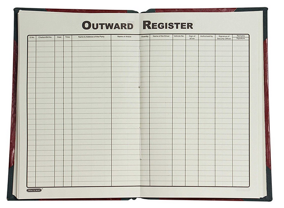 Outward Register, Rexine Binding, 384 Pages 8 Qr