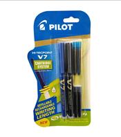 Pilot V7 Hi-tecpoint Pen with cartridge system - 1 Blue, 1 Black Pen, 2 Blue & 2 Black cartridges