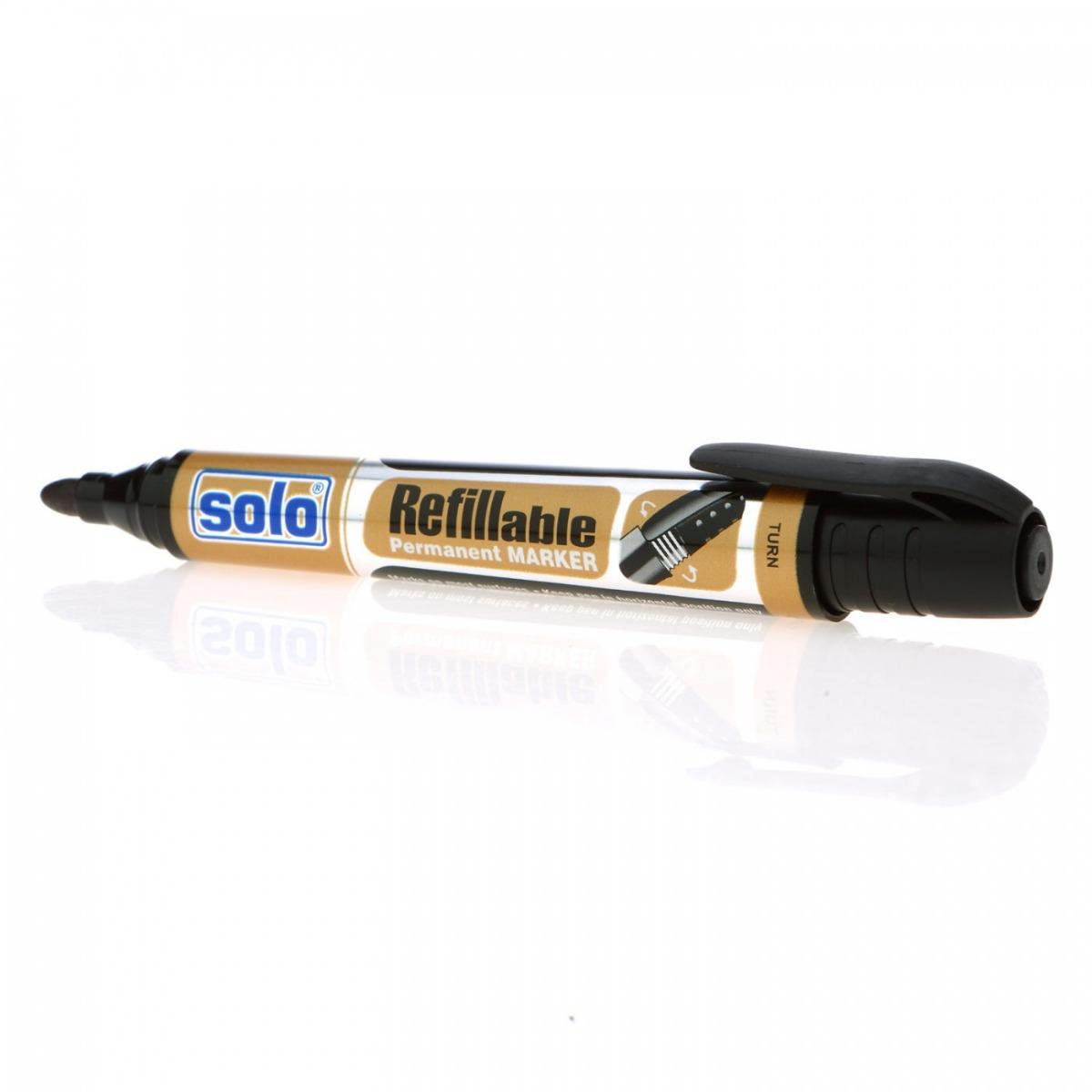 Refillable Permanent Marker Pen- Black, Pack of 10
