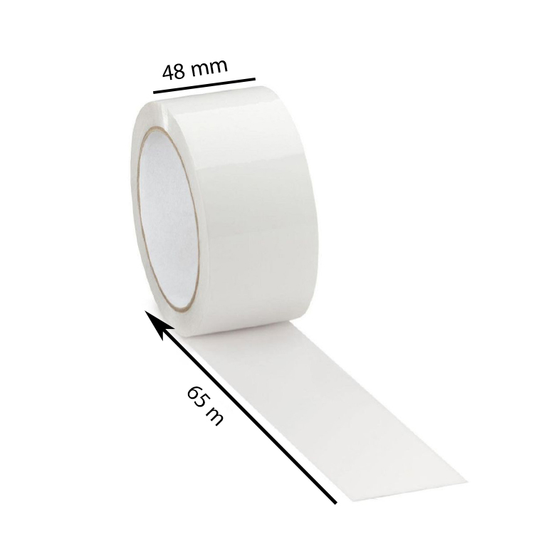 White Tape, 40 Micron, 48mm, 65 Meter, Pack of 12