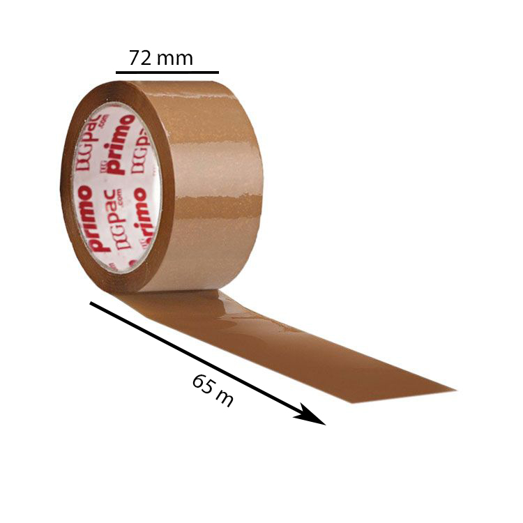 Primo Brown BOPP Tape, 40 Micron, 72mm, 65 Meter, Pack of 48